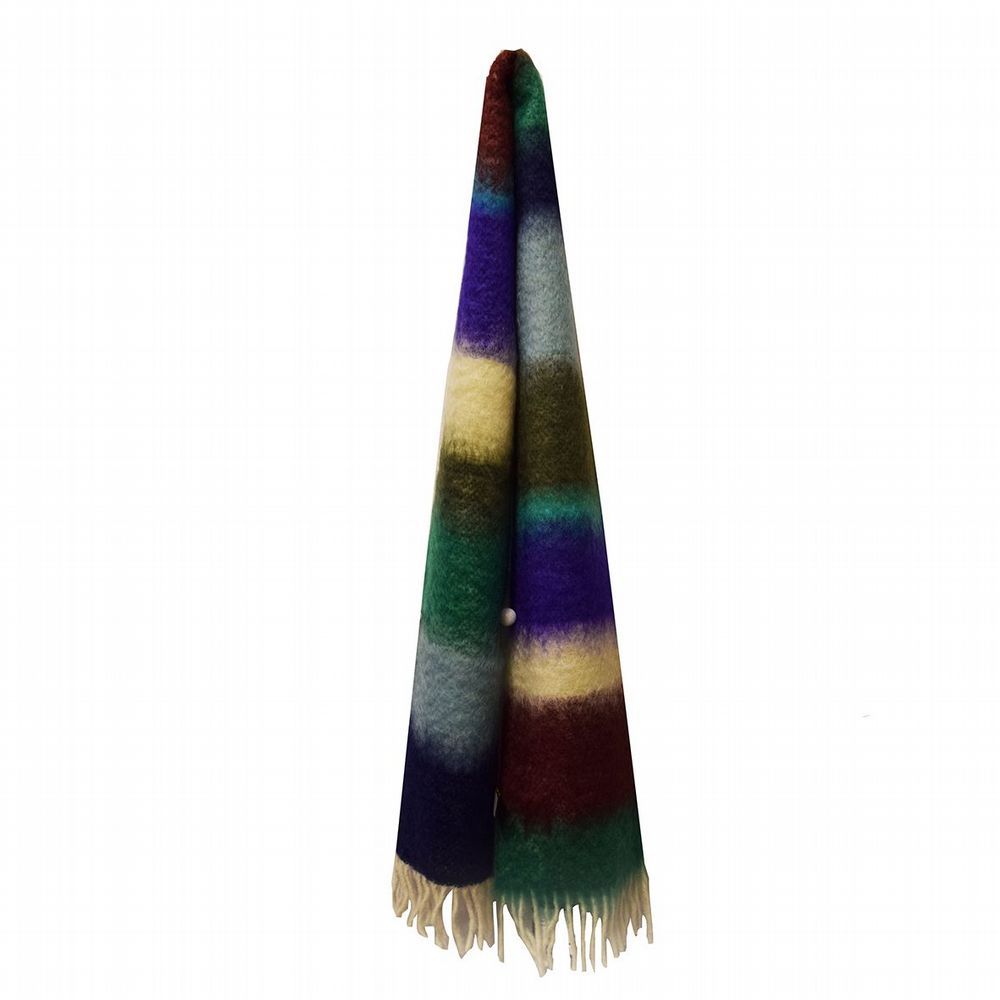 Striped Mohair Scarf - Navy / Sage